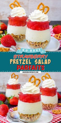 Strawberry Pretzel Salad Parfaits - layers of pretzels, no bake cheesecake, and strawberry pie filling make these cheesecake parfaits a delicious treat! Make this easy no bake recipe for picnics and parties. Easy Baking Recipes, Best Dessert Recipes, Sweet Recipes, Snack Recipes, Supper Recipes, Yummy Recipes, Strawberry Pretzel Salad, Strawberry Pie, Frozen Desserts