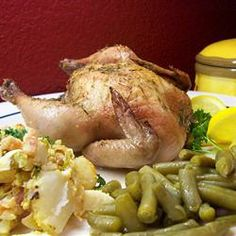 Lemon Leek Roasted Cornish Hens Allrecipes.com