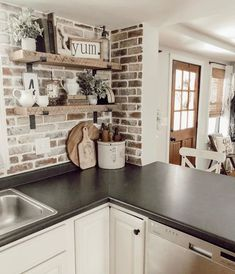 These Brick Backsplash Ideas Make the Case for a Rustic Kitchen Makeover Hunker farmhousekitchendecor Brick Kitchen Backsplash Ideas and Inspiration Hunker Farmhouse Kitchen Decor, Kitchen Redo, Kitchen Styling, Kitchen Shelves, Kitchen Cabinets, Kitchen Tops, Rustic Chic Kitchen, Farm Kitchen Ideas, Kitchen Counters