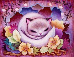 Sleepy Kitty Print - Fine Art Print, Signed