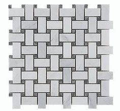 Carrara (Carrera) White Gray Dot Basketweave Natural Stone Mosaic