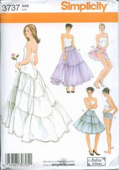 Sewing Pattern Panties and Petticoat Simplicity 3737 6-8-10-12 Out of Print UNCUT. $38.00, via Etsy.