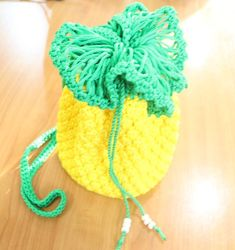 """Cute Handmade Crochet Handbag, Yellow Pine Apple Bag – 4.25""""  