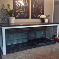 Double Dog Crate Furniture Diy 18 Ideas For 2019 Dog Crate Table, Diy Dog Crate, Dog Crate Furniture, Dog Crate Cover, Furniture Ideas, Dog Crate Beds, Furniture Dog Kennel, Table Furniture, Wood Dog Crate