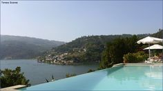 House swimming pool, with River Douro in background, Quinta da Torre, Baião, Portugal)