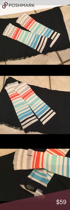 FALL FORWARD Luxury Cashmere Fingerless Gloves Designer Portlano Luxury Handmade Cashmere Fingerless Gloves with Cool Pastel Gray and Dark Accents. New and Never Worn without Tags Condition. 100% Cashmere. Made as One Size Fits All, best Fit Size 7 or 8 in Gloves. Dry Clean. Made in China Portlano Accessories Gloves & Mittens