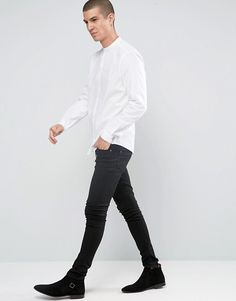 ASOS | ASOS White Shirt With Grandad Collar In Regular Fit