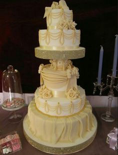 Wedding cake # this cake makes me think  about the dress from belle # beauty & the Beast # disney
