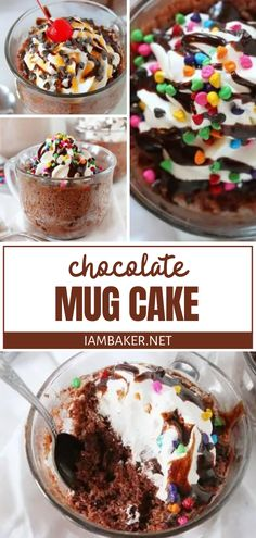 Whip up this quick and easy recipe when your sweet craving strikes! Chocolate Mug Cake is ready in just one minute. Simply combine 3 ingredients for a delicious dessert you can enjoy without much guilt. Try it in different flavors and add some fun toppings! Easy No Bake Desserts, Homemade Desserts, Easy Desserts, Delicious Desserts, Microwave Desserts, Mug Recipes, Best Dessert Recipes, Baking Recipes, Easy Recipes