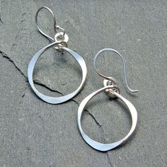 Silver Hoop Dangle Earrings - Argentium Sterling Silver Dangle, Modern Hammered Oval Earrings by mymusejewelry on Etsy