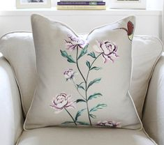 20 Zoffany Snow Blossom Linen Pillow Cover in Grey by PinkandPiper, $90.00