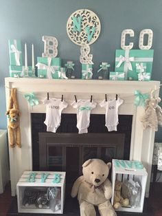 Tiffany and Co. inspired baby shower.  Use the mother's last name to celebrate the family.