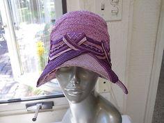 """Vtg 1920's Purple Straw Flapper Hat Art Deco Clothes Cloche Turban 23"""" Fahnley   eBay"""