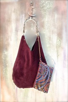 Leather Tote Bag in genuine burgundy suede  with by agnesedejuliis, €77.00