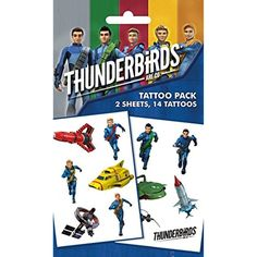 Thunderbirds Tattoo Pack - Are Go, Mix, 14 Tattoos (7 x 4 inches) >>> Continue to the product at the image link. (This is an affiliate link) #TemporaryTattoos