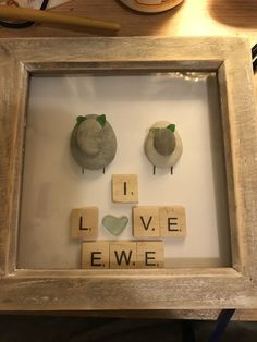 """I love ewe""sheep pebble art birthday valentines anniversary I.O.W wedding gift  