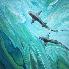 artwork by Zuzana Borysek. detail of acrylic painting on canvas – Art Center Shark Painting, Underwater Painting, Flow Painting, Acrylic Painting Canvas, Acrylic Painting Animals, Ocean Paintings On Canvas, Acrylic Artwork, Jellyfish Painting, Ocean Artwork