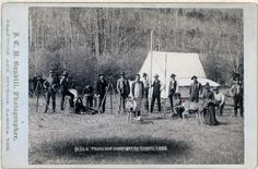 [Engineers Corps camp and visitors] Row of fifteen people and two deer in front of a tent. Some of the men are holding measuring poles and or standing next to surveyors transits on tripods. 1889. Repository: Library of Congress Prints and Photographs Division Washington, D.C. 20540 #
