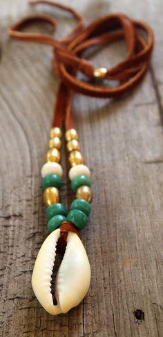 Large Cowrie Shell Beach Necklace with Tan Deerskin