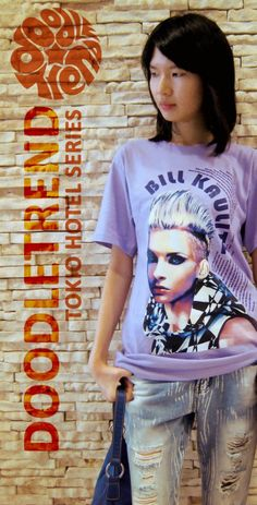 Bill Kaulitz tee by DoodleTrend. Available in many tee colors. Details will be up soon. Model is about 166 cm tall wearing size M. Painting by yours truly. There are lyrics of Tokio Hotel song 'Noise' surrounding the portrait that I think suits Bill ^^