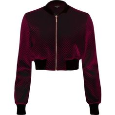 River Island Burgundy velvet cropped bomber jacket ($18) ❤ liked on Polyvore featuring outerwear, jackets, velvet jacket, zip front jacket, blouson jacket, purple bomber jacket and river island