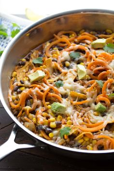 Spiralized Sweet Potato Enchilada Skillet, an easy vegetarian dinner recipe that cooks in one pot and is ready in 30 minutes!