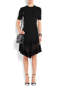 Givenchy - Organza-paneled Dress In Black Ribbed-knit - large