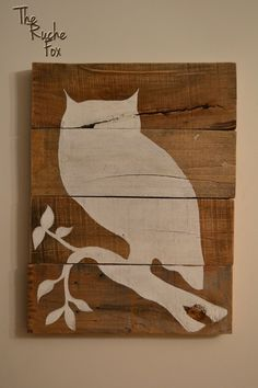 Reclaimed Wood  Owl Silhouette Acrylic Painting by TheRucheFox, $40.00