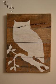 Reclaimed Wood - Owl Silhouette Acrylic Painting via Etsy