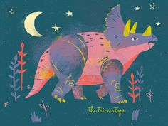 Triceratops Print designed by Kevin Howdeshell. Connect with them on Dribbble; the global community for designers and creative professionals. Tiger Illustration, Vintage Illustration, Dinosaur Posters, Dinosaur Art, Cute Dinosaur, Watercolor Clipart, Dragons, Illustrator, Ju Jitsu