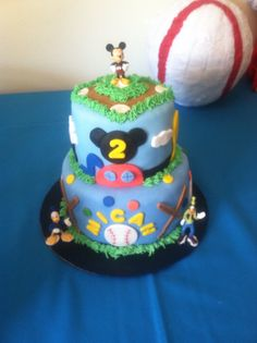 Baseball Mickey Mouse clubhouse cake - Made by Cupcakeables, Ocala Fl