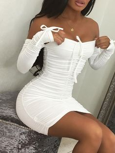 Solid Off Shoulder Scrunched Bodycon Dress