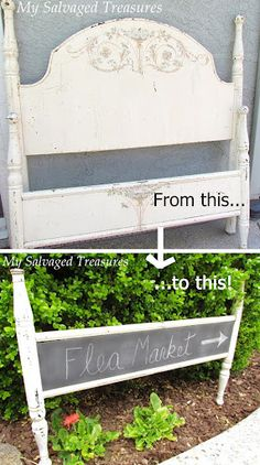 Repurpose, quite simply, is taking one thing and reusing it as something else. Like this fun example below of a footboard repurposed as a chalkboard sign from My Salvaged Treasures.