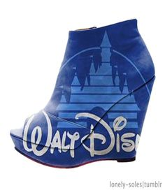 Disney. are these real...O.o what in the world..I could understand it on a purse, pillowcase, blanket, banner...but your shoes? I would never ;) haha just kidding I totally would. XD