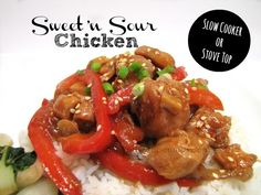 Sweet 'n Sour Chicken!  This can be made in the slow cooker or on the stove top!