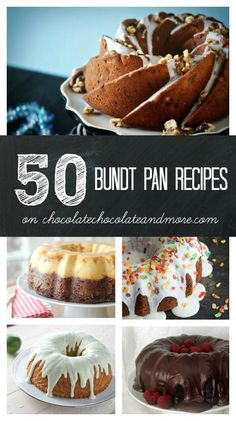 50 Bundt Pan Recipes.  This is one amazing list!  Can't wait to try a few of these.    #recipe #bundtpan