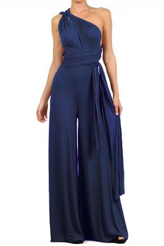 Infinity Convertible Jumpsuit Navy Multiway Wrap Solid Romper