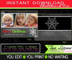 Chalkboard Holiday Photo Card Template Christmas Chalkboard Card Layered Photoshop Templates Instant Download Holiday Cards Back by TaraLiciousTemplates on Etsy
