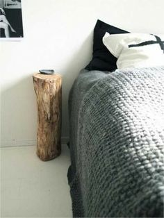 A delightful way to create a simple and easy night stand!  http://blog.drummondhouseplans.com/2013/10/23/touch-of-wood-inside-the-house-decoration/