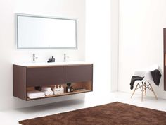 "63"" Sophora Double Sink Vanity - Iron Wood - A stylish modern vanity with floating design & integrated white top & open shelf for storage & organization."