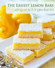 With only 5 simple ingredients and an incredibly easy recipe you can bake these luscious lemon bars that all who try, just rave about! # Easy Recipes baking Super Easy Lemon Bars - made with only 5 simple ingredients! Thanksgiving Desserts Easy, Quick Easy Desserts, Desserts For A Crowd, Easy Baking Recipes, Mini Desserts, Delicious Desserts, Party Desserts, Baking Snacks, No Egg Desserts