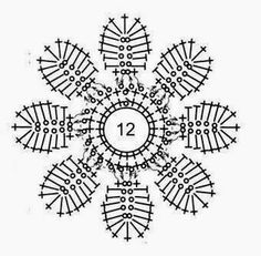 Crochet motifs chart In the round Large center hole 8 'petals' around a ring make this look like a snowflake a little bit Free Crochet Doily Patterns, Crochet Snowflake Pattern, Crochet Motifs, Crochet Snowflakes, Crochet Diagram, Crochet Chart, Thread Crochet, Crochet Stitches, Crochet Fruit