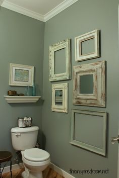 Small Bathroom Decorating Ideas   Decozilla  (T) idea:  Put frames on chalkboard wall, change quotes throughout the year.