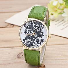 Retro Spitzen Uhr Lederausstattung Leichtmetall Damen Analoge Quarz Armbanduhr Grün - http://uhr.haus/sanwood/gruen-retro-weltkarte-uhr-lederausstattung