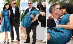Alec Baldwin was having so much fun hamming it up for the photogs, he suddenly swooped Hilaria Thomas off her feet, cradled her like a baby, and planted a huge wet one on her kisser.