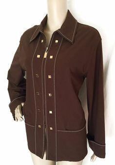 ST JOHN SPORT Brown Zipper Pull Stretch Jacket w/Decorative Snaps Size S - EUC #StJohn #BasicJacket