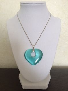 Light Blue Heart Pendant Necklace by TheJewelryBoxe on Etsy, $10.00