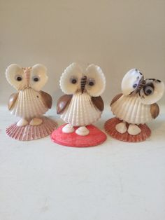 Sea shell Owl figurines by EnchantedSeaKingdom on Etsy                                                                                                                                                     More