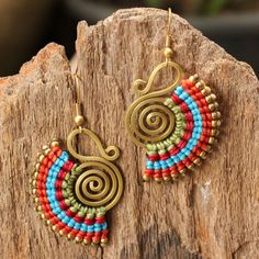 Funky waxed cotton earrings with shaped brass by cafeandshiraz.