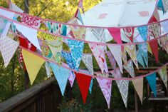 80 Feet of Bunting, Custom Wedding Flag Banner Decorations in Your Chosen Colors